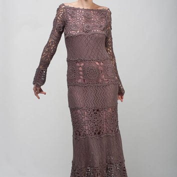 Formal Crochet dress mocha lace dress maxi long sleeve dress Crochet lacy dress taupe off shoulder dress Crochet dress evening floor gown