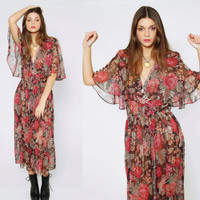 Vintage 70s Sheer FLORAL Dress Oversized FLOWER Print Boho Maxi with FLUTTERY Cape Sleeves Medium