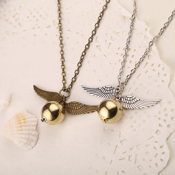 Vintage Harry Potter Inspired Angel Wing Golden Snitch Necklace