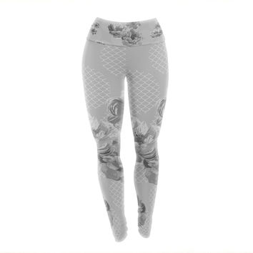 "Pellerina Design ""Lace Peony in Gray"" Grey Floral Yoga Leggings"