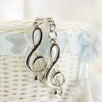 Popular New Stainless Steel Metal Treble Clef Musical Symbol Key Ring Key Chain GiftBrand New