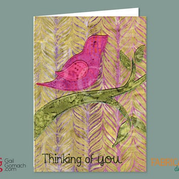 THINKING of YOU Quilted Card Greeting Card, Printed, Blank Inside 5 x7 with Envelope - Somber Sparrow Bird Magenta Green Tree
