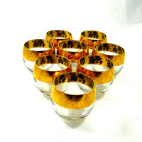 Mid Century Modern Roly Poly Cocktail Glasses with Gold Band. Set of Eight