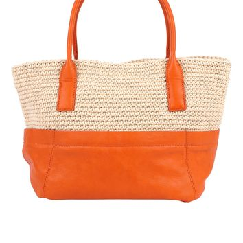 Sondra Roberts Leather and Crochet Bag