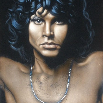 The Doors Jim Morrison music legend black velvet oil painting handpainted signed art