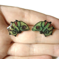 Chameleon Lizard Earrings, Studs, OOAK,Hand Drawn and Colored, Green and Red, Glitter Coating, Silver Toned Hypoallergenic Posts