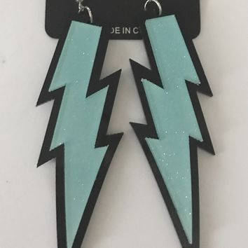 "4"" Light Blue Lightning Bolt Earrings"