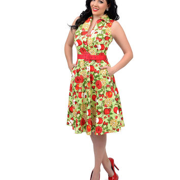 Voodoo Vixen 1950s Style Green & Red Floral & Apple Print Belted Keira Swing Dress