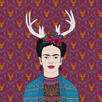 DEER FRIDA Stretched Canvas by Bianca Green | Society6