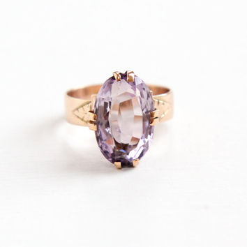 Antique Victorian 10k Rose Gold Rose de France Amethyst Ring - 1800s Size 5 Large Light Purple Oval Gem Fine Jewelry