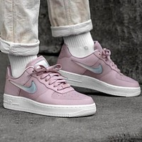 Nike W Air Force 1 AF1 Pink Women's Crystal Hook Low-Top Sneakers Shoes