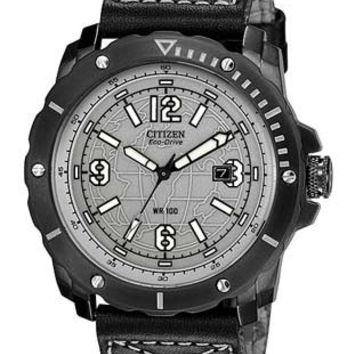 Citizen DRIVE HTM 4.0 Mens 100M Strap Watch - Grey Dial with Globe - Black Case