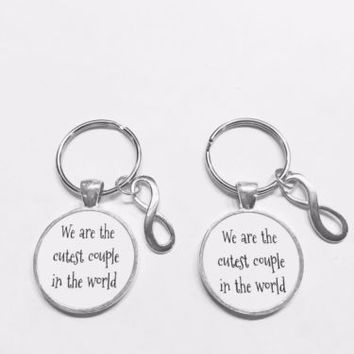 Infinity We Are The Cutest Couple In The World His And Hers Gift Keychain Set