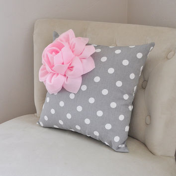 Decorative Pillow Light Pink Corner Dahlia on Gray and White Polka Dot Pillow Home Decor Nursery Decor