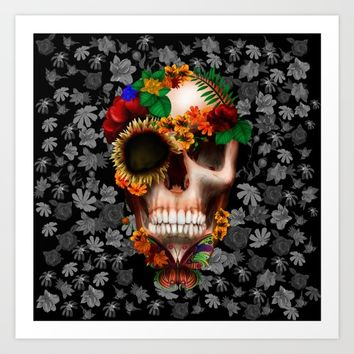 Halloween sugar skull with butterfly iPhone 4 4s 5 5c 6, ipod, ipad, pillow case Art Print by Three Second