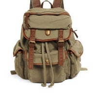 canvas leather rucksack backpack laptop vintage green