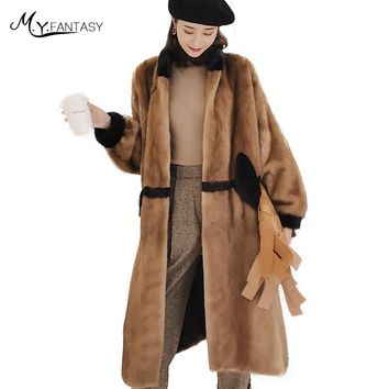 M.Y.FANSTY2017 Import Winter Women's Full Sleeve Mink Coats Real Fur Coat Mandarin Collar X-Long Patchwork Line Mink Fur Coats
