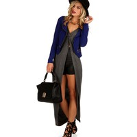 Promo-charcoal Knot Front Long Top