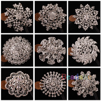 1pc Pearls Brooch Rhinestone Crystal Wedding Bridal Bouquet Flower Pin Wholesale