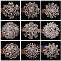 1pc Clear Brooch Rhinestone Crystal Wedding Party Bridal Bouquet Flower Pin Hot