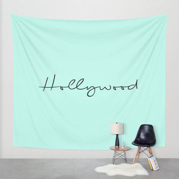 Mint Hollywood Wall Tapestry California Decor Beach Decor Los Angeles