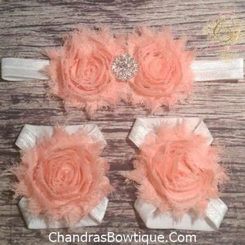 Peach and White Rhinestone Headband and Barefoot Sandal Set