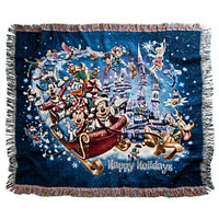 Disney Parks Mickey Mouse & Friends Tapestry Woven Holiday Throw New With Bag