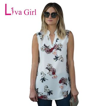 Liva Girl Chiffon Top Shirt Women Blouse Casual Sleeveless Flower Floral Tunic V Neck Summer Loose Tops Shirts Lady Tops Blouses
