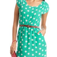 Belted Daisy Print A-Line Dress: Charlotte Russe