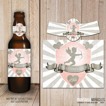 Valentine beer bottle labels / Digital printable Valentine's day party decorations / Gift for her / Grey pink Retro Valentines beer labels