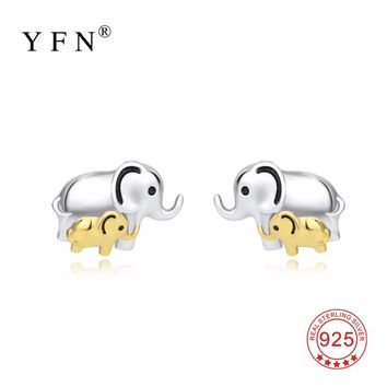 PYTZ0005-E YFN 925 Sterling Silver Earring Lucky Elephant Mother & Child Stud Earrings Fashion Jewelry Gift For Women