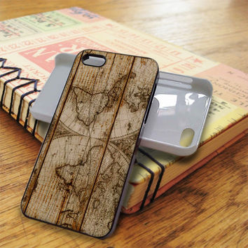 Old World Map Wood iPhone 5C Case