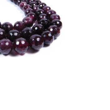6MM  Genuine Faceted  Garnet Gemstones Beads - 15 Inch Strand