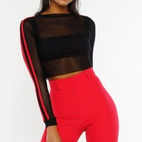 Earn Your Stripes Mesh Crop Top - Black
