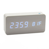 New LED Modern Wooden Wood USB/Battery Digital Alarm Clock Calendar Thermometer
