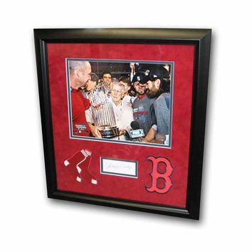 Major League Baseball-Autographed Johnny Pesky Index Card Framed With Black And White 8X10 Photo And 2 Red Sox Patches
