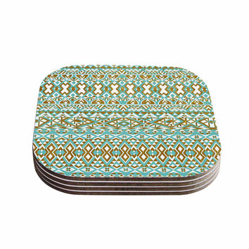 "Pom Graphic Design ""Mint & Gold Tribals"" Teal Brown Coasters (Set of 4)"