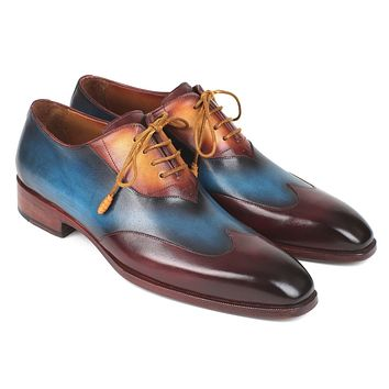 Paul Parkman Three Tone Wingtip Oxfords Bordeaux & Blue & Camel Shoes (ID#AL3249TU)