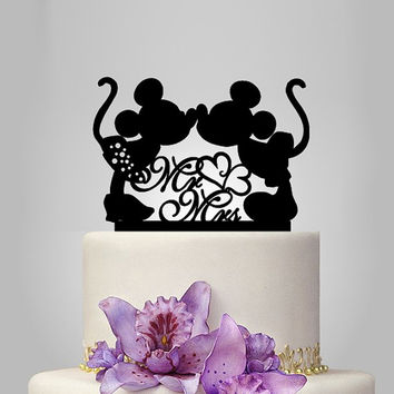 Mickey and Minnie mouse silhouette cake topper, mr and mrs wedding cake topper with heart decor, disney wedding cake topper