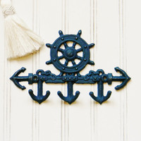 Ships Wheel Wall Hook, Choose your Color, Nautical Key Hook, Beach Decor, Nautical Decor, Anchor Wall Hook, Anchor Decor, Key Hook