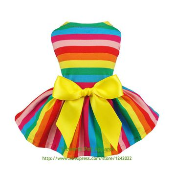 Fitwarm Rainbow Pet Clothes Dog Dresses Vest Shirts Sundress XS Small Medium Large Summer Chihuahua