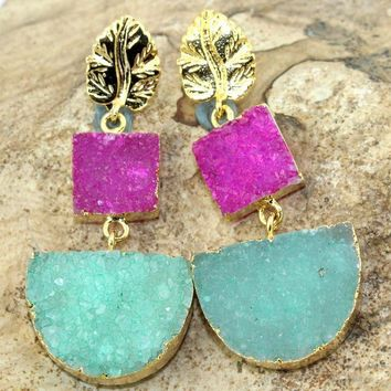 Luxurious Gold Electroplated Pink & Green Natural Agate Druzy Earring Jewelry