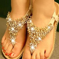 Simple fashion color matching diamond beads flat sandals from cassie2013