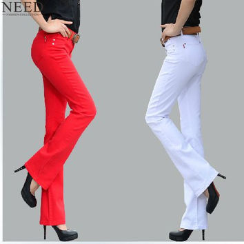 2017 Trousers For Women Skinny Black Candy Colors Flared Pants Plus Size Womens Flare Pants Bell Bottom Pants For Women