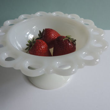 Anchor Hocking Old Colony White Milk Glass bowl, Elegant Open Lace Pattern, Favorite Collectible