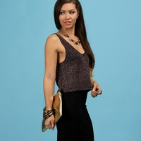 Sale-black Shimmery Jewels Crop Tank