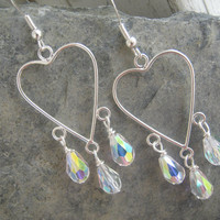 Chandelier Silver Heart Earrings, Iridescent Glass Briolette Teardrops
