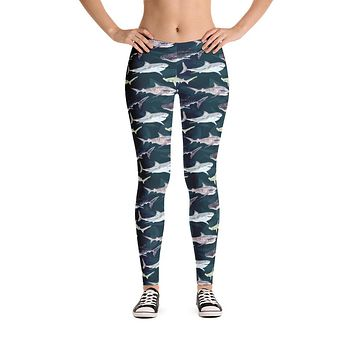 Womens Sea Sharks Pattern Leggings with Great White Sharks, Whale Sharks and Hammerheads