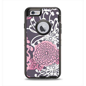 The Pink and White Solid Flowers Apple iPhone 6 Otterbox Defender Case Skin Set