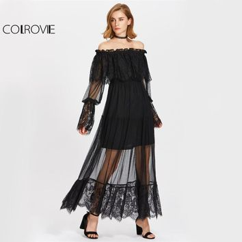 Vintage Lace Tiered Dress Sheer Overlay Women Black Off Shoulder Autumn Dress Ruffle Long Sleeve Maxi Boho Dress